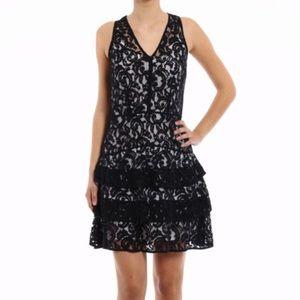 Michael Kors Black & White Lace Sleeveless Dress